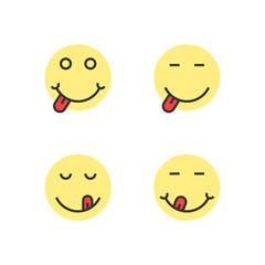 yellow thin line yummy emoji faces