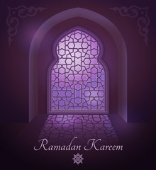 Arabic frames on traditional islamic door and window with ornament. Glossy moon on vector background