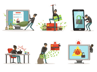 Cartoon illustrations of internet hackers. Breaking different user accounts or bank protection systems. Security concept pictures