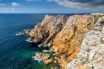 Rocky coastal scenery around Pointe de Pen-Hir in Brittany, France