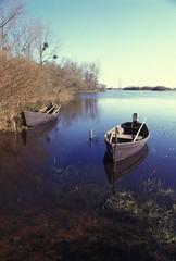 Barques sur le lac de grand lieu près de Nantes