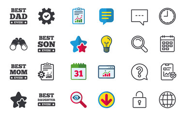 Best mom and dad, son and daughter icons. Awards with exclamation mark symbols. Chat, Report and Calendar signs. Stars, Statistics and Download icons. Question, Clock and Globe. Vector