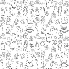baby seamless pattern background set