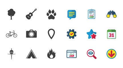 Tourism, camping icons. Fishing, fire and bike signs. Guitar music, photo camera and paw with clutches. Calendar, Report and Download signs. Stars, Service and Search icons. Vector