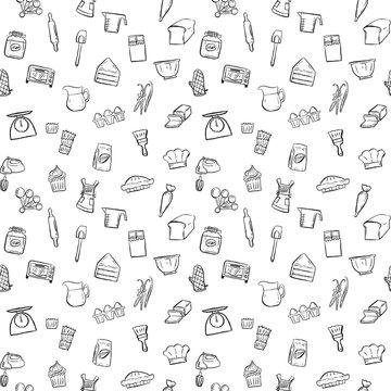 baking tools seamless pattern background set