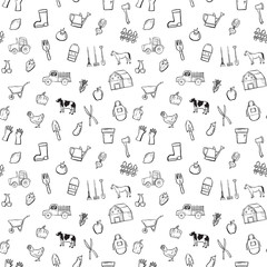 farm seamless pattern background set