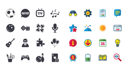 Set of Games, Entertainment and Services icons. Football, Bowling and Puzzle signs. Casino, Carnival and Music symbols. Calendar, Report and Browser window signs. Stars, Service and Download icons