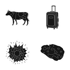 travel, agriculture and or web icon in black style.space, weapons icons in set collection.