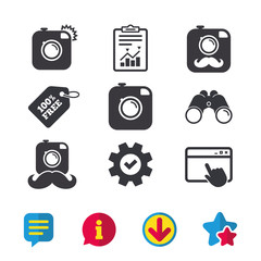 Hipster photo camera with mustache icons. Retro camera symbols. Browser window, Report and Service signs. Binoculars, Information and Download icons. Stars and Chat. Vector