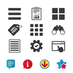 List menu icons. Content view options symbols. Thumbnails grid or Gallery view. Browser window, Report and Service signs. Binoculars, Information and Download icons. Stars and Chat. Vector