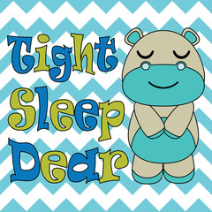 Kid T-shirt background vector cartoon with cute baby hippo sleep on chevron background suitable for children t-shirt wallpaper and postcard