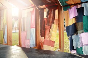 Colorful cloth tunnel , garden decoration.