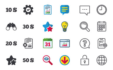 Money in Dollars icons. 10, 20, 30 and 50 USD symbols. Money signs Chat, Report and Calendar signs. Stars, Statistics and Download icons. Question, Clock and Globe. Vector