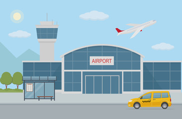 Airport building, taxi cab and bus stop. Flat style, vector illustration