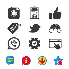 Hipster photo camera icon. Like and Call speech bubble sign. Bird symbol. Social media icons. Browser window, Report and Service signs. Binoculars, Information and Download icons. Stars and Chat