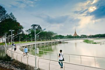 Khon Kaen city scape,the bridge in Bueng KaenNakhon lake is Park City,is new Landmark in Khon Kaen