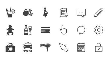 Hotel, apartment service icons. Fitness gym. Alcohol cocktail, taxi and hairdryer symbols. Chat, Report and Calendar line signs. Service, Pencil and Locker icons. Click, Rotation and Cursor. Vector