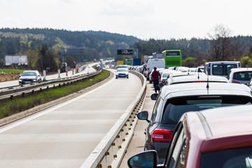 Traffic jam on highway during rush hour