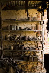 Old farm tools in shed