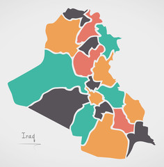 Iraq Map with states and modern round shapes