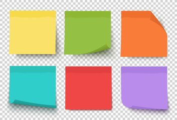 Multicolor post it notes isolated on transparent background. Colored sticky note set. Vector realistic illustration. Sticky note collection with curled corners and shadows. Wall mural