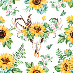 Bright Seamless pattern with sunflowers,leaves,branches,fern leaves,feathers,skull,horns etc Boho watercolor background.Perfect for wedding,invitation,template card,wallpaper,print and boho style