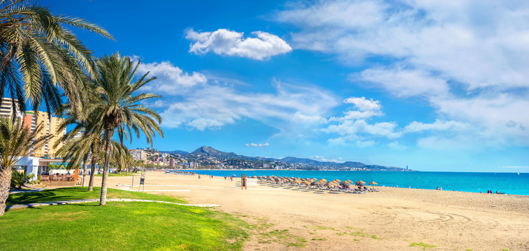 Malagueta beach in Malaga. Andalusia, Spain