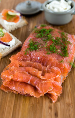 Salmon smoked cured sliced