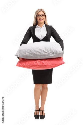 Formally Dressed Woman With Pillows Stock Photo And Royalty Free