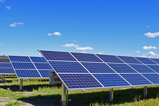 Solar energy panels. Clear blue sky on background.