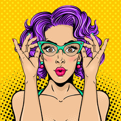 Wow pop art female face. Closeup of sexy surprised young woman with wide open eyes, open mouth and bright curly hair holding her glasses. Vector colorful background in pop art retro comic style.