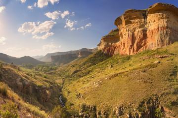 Foto auf AluDibond Gebirge Golden sunlight over the Golden Gate Highlands NP, South Africa