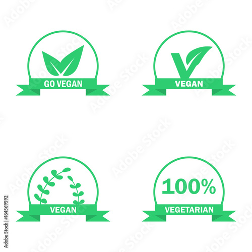 Vegetarian Logos Set Green Food Symbols Vector Labels Stock Image