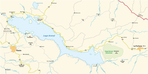 Map of the Costa rican lake arenal