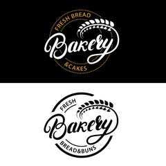 Set of Bakery hand written lettering logo, label, badge, emblem.