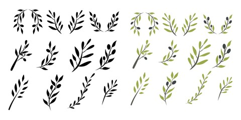 Olive brunch set. Digital illustration Wall mural