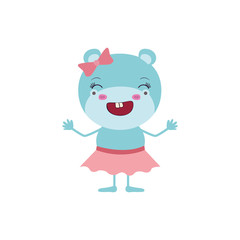 colorful caricature of cute expression female hippo in skirt with bow lace and wink eyes vector illustration