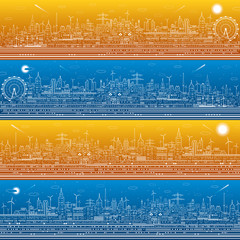 Fototapete - City infrastructure panorama set, town illustration, ferris wheel, modern skyline, white lines on blue and orange background, day and night, vector design art