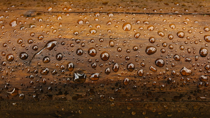 Drop of water on wood with raindrop