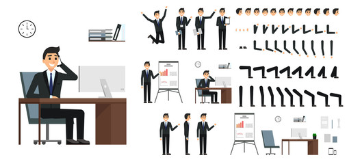 Character vector set. Male businessman character design in flat design isolated. Emotions, face, leg and arms and other parts for animation creation