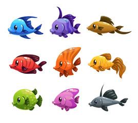 Cute cartoon colorful fishes set.