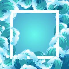 Sea blue water wave frame, ocean border background design element for banner or greeting card, decoration vector illustration