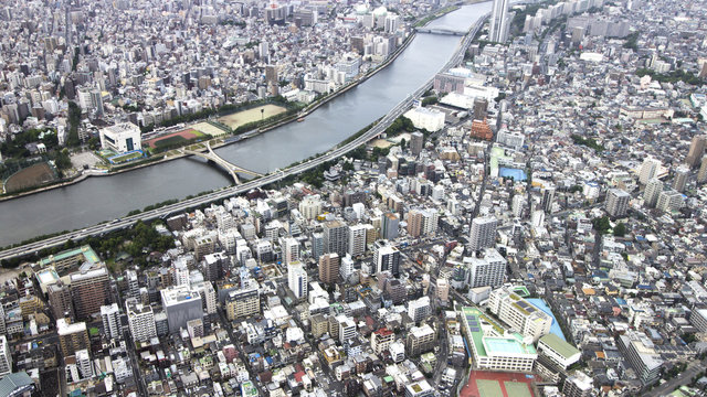View shape of sumida river with building density