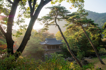"Yecheon, South Korea - Choganjeong Pavilion.( Sign board text is ""Choganjeong"" name of building)"