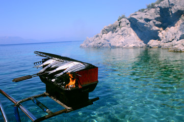 Seafood Barbecue grill on sea at a yacht deck, Mugla, Turkey