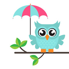 cartoon owl with umbrella on a branch