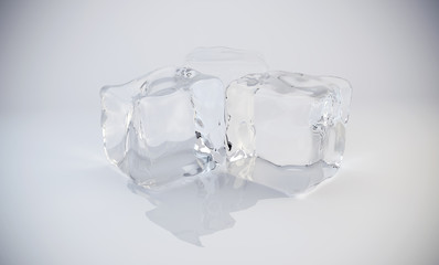 3D Ice cubes. 3D rendering.