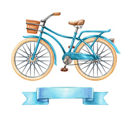watercolor illustration, blue bicycle, retro bike, blank ribbon tag, banner, label, transport clip art isolated on white background