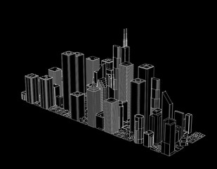 3D model of city. Isolated on black background. Vector outline illustration.