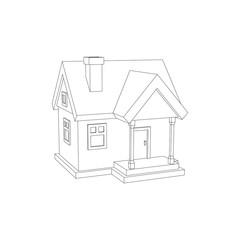 House model. Isolated on white background. Vector outline illustration.